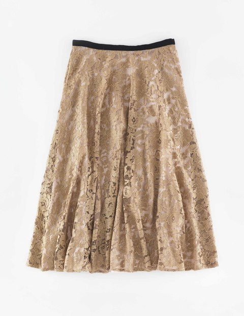 Luxe Lace Skirt Gold Lace Women, Gold Lace - length: below the knee; pattern: plain; fit: loose/voluminous; waist: high rise; predominant colour: gold; style: a-line; fibres: polyester/polyamide - 100%; occasions: occasion; hip detail: soft pleats at hip/draping at hip/flared at hip; waist detail: narrow waistband; pattern type: fabric; texture group: other - light to midweight; embellishment: lace; season: a/w 2015