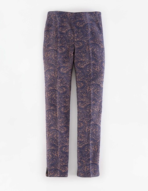 Party Trouser Rose Gold Metallic & Navy Lace Women, Rose Gold Metallic & Navy Lace - waist: mid/regular rise; secondary colour: blush; predominant colour: navy; occasions: casual, creative work; length: ankle length; fibres: polyester/polyamide - mix; fit: slim leg; pattern type: fabric; pattern: florals; texture group: brocade/jacquard; style: standard; pattern size: standard (bottom); season: a/w 2015; wardrobe: highlight
