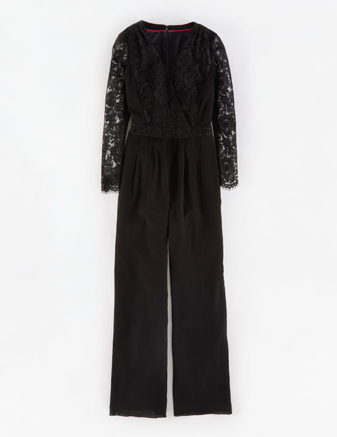 Lace Jumpsuit Black Women, Black - length: standard; neckline: v-neck; waist detail: fitted waist; predominant colour: black; occasions: evening; fit: body skimming; fibres: cotton - 100%; sleeve length: long sleeve; sleeve style: standard; texture group: lace; style: jumpsuit; pattern type: fabric; pattern: patterned/print; embellishment: lace; season: a/w 2015; wardrobe: event