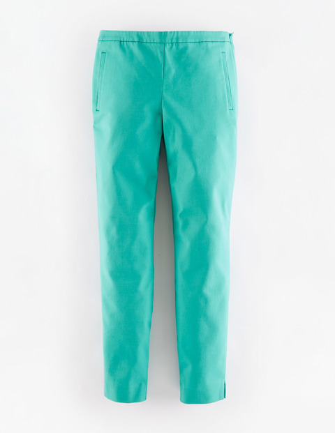 Kensington Trouser Viridian Women, Viridian - length: standard; pattern: plain; waist: mid/regular rise; predominant colour: mint green; occasions: casual, creative work; fibres: cotton - stretch; fit: straight leg; pattern type: fabric; texture group: woven light midweight; style: standard; season: a/w 2015; wardrobe: highlight