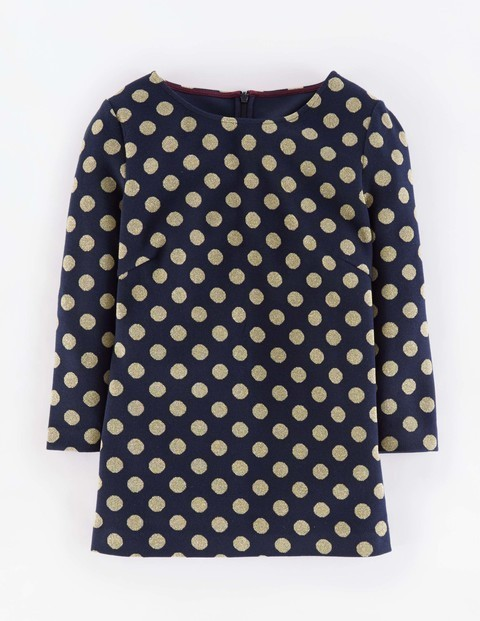 Sparkle Spot Jacquard Top Navy With Gold Women, Navy With Gold - style: smock; pattern: polka dot; predominant colour: navy; secondary colour: stone; occasions: casual; length: standard; fibres: cotton - mix; fit: straight cut; neckline: crew; sleeve length: 3/4 length; sleeve style: standard; texture group: cotton feel fabrics; pattern type: fabric; pattern size: standard; season: a/w 2015; wardrobe: highlight