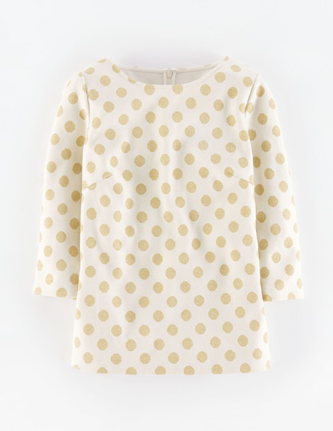Sparkle Spot Jacquard Top Ivory With Gold Women, Ivory With Gold - neckline: round neck; pattern: polka dot; predominant colour: ivory/cream; secondary colour: gold; occasions: casual, creative work; length: standard; style: top; fibres: cotton - 100%; fit: straight cut; sleeve length: 3/4 length; sleeve style: standard; pattern type: fabric; texture group: other - light to midweight; pattern size: big & busy (top); season: a/w 2015; wardrobe: highlight