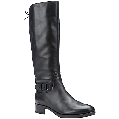 Felicity A Block Heeled Knee High Boots, Black Leather - predominant colour: black; occasions: casual, creative work; material: leather; heel height: mid; heel: block; toe: round toe; boot length: knee; style: standard; finish: plain; pattern: plain; season: a/w 2015; wardrobe: investment