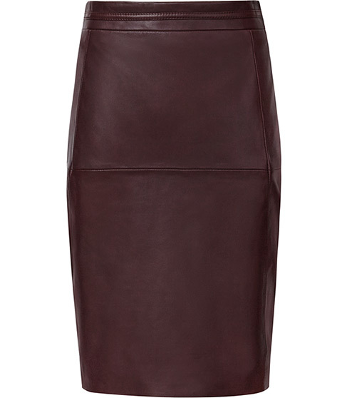 Cleo Leather Panel Pencil Skirt - pattern: plain; style: pencil; fit: tight; waist: high rise; predominant colour: aubergine; occasions: evening, creative work; length: on the knee; fibres: leather - 100%; texture group: leather; pattern type: fabric; season: a/w 2015; wardrobe: highlight