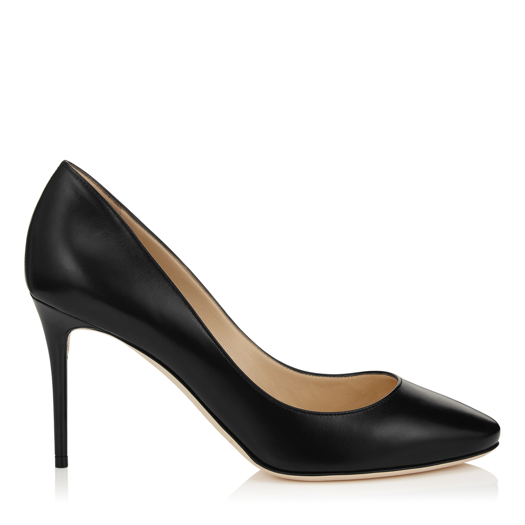 Esme 85 Black Kid Leather Round Toe Pumps - predominant colour: black; occasions: evening; material: leather; heel height: high; heel: stiletto; toe: pointed toe; style: courts; finish: plain; pattern: plain; season: a/w 2015; wardrobe: event