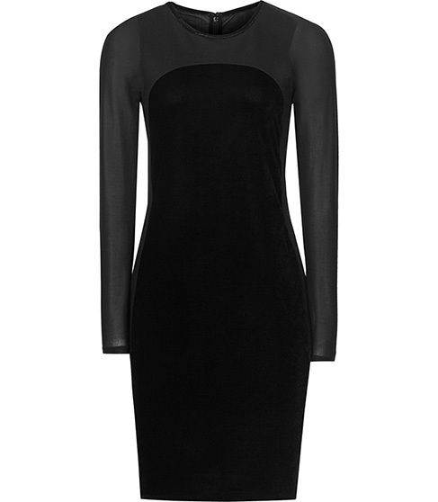 Maria Velvet Panel Dress - style: shift; length: mid thigh; neckline: round neck; fit: tight; pattern: plain; predominant colour: black; occasions: evening, occasion; sleeve length: long sleeve; sleeve style: standard; pattern type: fabric; texture group: other - stretchy; season: a/w 2015; wardrobe: event