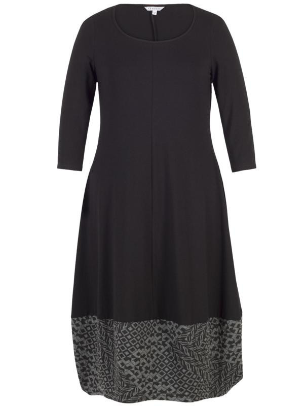 Black Diamond Jacquard Trim Jersey Dress - neckline: round neck; predominant colour: navy; secondary colour: mid grey; occasions: evening, creative work; length: just above the knee; fit: fitted at waist & bust; style: fit & flare; fibres: polyester/polyamide - 100%; hip detail: subtle/flattering hip detail; sleeve length: 3/4 length; sleeve style: standard; pattern type: fabric; pattern size: light/subtle; pattern: patterned/print; texture group: jersey - stretchy/drapey; season: a/w 2015; wardrobe: highlight