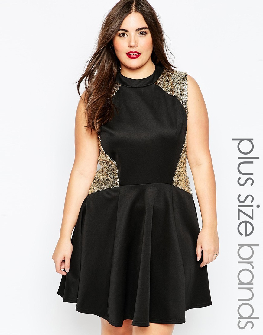 Plus Size Skater Dress With Sequin Inserts Black - length: mid thigh; pattern: plain; sleeve style: sleeveless; secondary colour: gold; predominant colour: black; occasions: evening; fit: fitted at waist & bust; style: fit & flare; neckline: crew; sleeve length: sleeveless; pattern type: fabric; texture group: jersey - stretchy/drapey; embellishment: sequins; season: a/w 2015