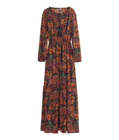 Patterned Maxi Dress - neckline: round neck; fit: fitted at waist; style: maxi dress; length: ankle length; sleeve style: balloon; predominant colour: bright orange; secondary colour: black; occasions: evening; fibres: polyester/polyamide - 100%; sleeve length: long sleeve; pattern type: fabric; pattern: florals; texture group: other - light to midweight; multicoloured: multicoloured; season: a/w 2015; wardrobe: event
