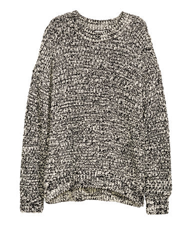 Knitted Jumper - style: standard; secondary colour: stone; predominant colour: black; occasions: casual; length: standard; fibres: acrylic - mix; fit: loose; neckline: crew; sleeve length: long sleeve; sleeve style: standard; texture group: knits/crochet; pattern type: fabric; pattern: marl; multicoloured: multicoloured; season: a/w 2015; wardrobe: basic