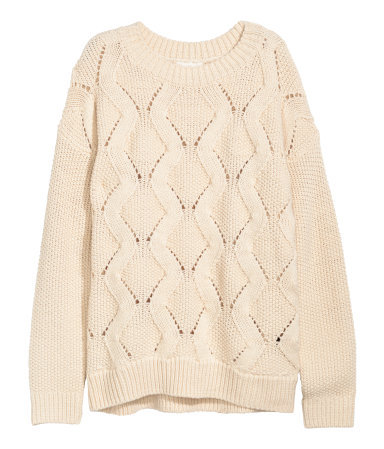 Knitted Jumper - pattern: plain; style: standard; predominant colour: ivory/cream; occasions: casual, creative work; length: standard; fibres: acrylic - mix; fit: standard fit; neckline: crew; sleeve length: long sleeve; sleeve style: standard; texture group: knits/crochet; pattern type: knitted - other; season: a/w 2015; wardrobe: basic