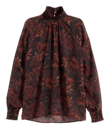 Patterned Blouse - neckline: high neck; sleeve style: balloon; style: blouse; secondary colour: tan; predominant colour: black; occasions: casual, creative work; length: standard; fibres: polyester/polyamide - 100%; fit: straight cut; sleeve length: long sleeve; texture group: sheer fabrics/chiffon/organza etc.; pattern type: fabric; pattern size: standard; pattern: florals; season: a/w 2015; wardrobe: highlight