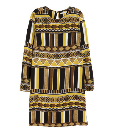 Patterned Dress - style: shift; length: mini; secondary colour: yellow; predominant colour: black; occasions: casual, creative work; fit: straight cut; fibres: polyester/polyamide - 100%; neckline: crew; sleeve length: long sleeve; sleeve style: standard; pattern type: fabric; pattern size: standard; pattern: patterned/print; texture group: other - light to midweight; multicoloured: multicoloured; season: a/w 2015