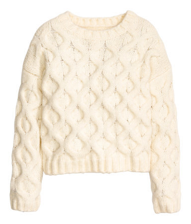 Cable Knit Jumper - style: standard; pattern: cable knit; predominant colour: ivory/cream; occasions: casual, creative work; length: standard; fibres: wool - 100%; fit: standard fit; neckline: crew; sleeve length: long sleeve; sleeve style: standard; texture group: knits/crochet; pattern type: knitted - other; season: a/w 2015; wardrobe: highlight