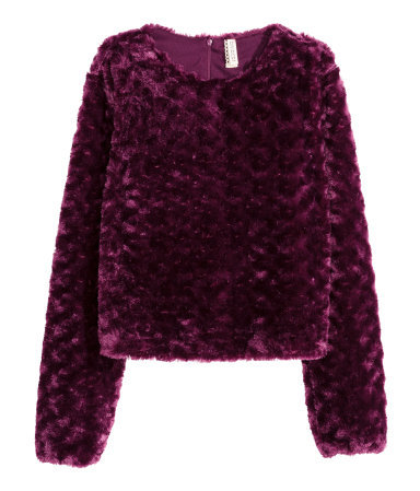 Faux Fur Top - pattern: plain; predominant colour: purple; occasions: casual; length: standard; style: top; fibres: acrylic - 100%; fit: straight cut; neckline: crew; sleeve length: long sleeve; sleeve style: standard; texture group: fur; pattern type: fabric; season: a/w 2015; wardrobe: highlight