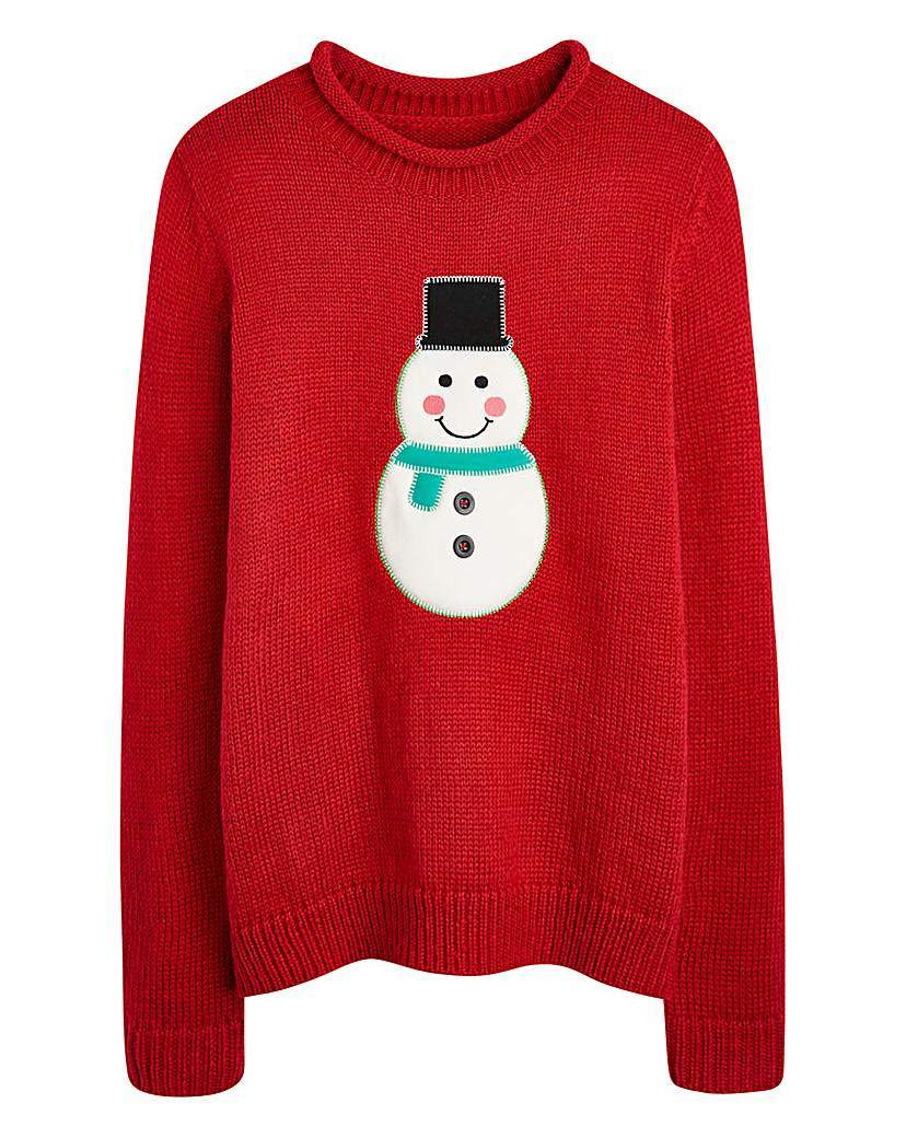 Christmas Snowman Jumper - neckline: round neck; style: standard; predominant colour: true red; occasions: casual; length: standard; fit: loose; sleeve length: long sleeve; sleeve style: standard; texture group: knits/crochet; pattern type: knitted - fine stitch; pattern size: standard; pattern: patterned/print; trends: christmas jumpers; season: a/w 2015