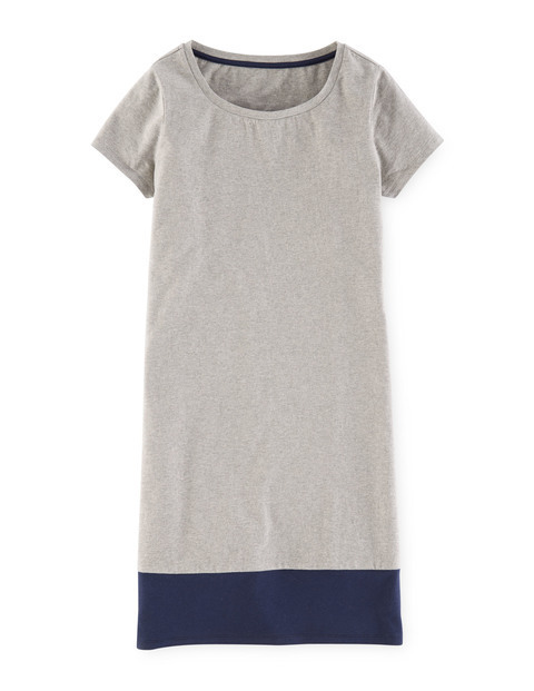 T Shirt Summer Dress Grey Marl/Navy Women, Grey Marl/Navy - style: shift; length: mini; neckline: round neck; pattern: plain; predominant colour: light grey; secondary colour: light grey; occasions: casual; fit: body skimming; fibres: cotton - mix; sleeve length: short sleeve; sleeve style: standard; pattern type: fabric; texture group: jersey - stretchy/drapey; season: a/w 2015