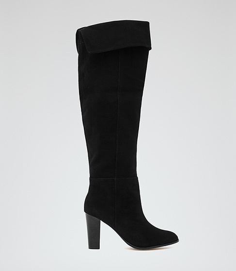 Vale Over The Knee Suede Boots - predominant colour: black; occasions: casual, creative work; material: suede; heel height: high; heel: block; toe: pointed toe; boot length: knee; style: standard; finish: plain; pattern: plain; season: a/w 2015; wardrobe: investment