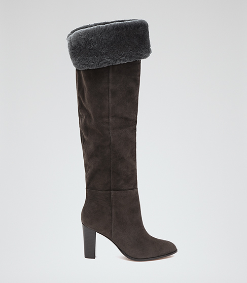 Una Over The Knee Suede Boots - predominant colour: charcoal; occasions: casual, creative work; material: suede; heel height: high; heel: stiletto; toe: pointed toe; boot length: knee; style: standard; finish: plain; pattern: plain; embellishment: fur; season: a/w 2015; wardrobe: highlight