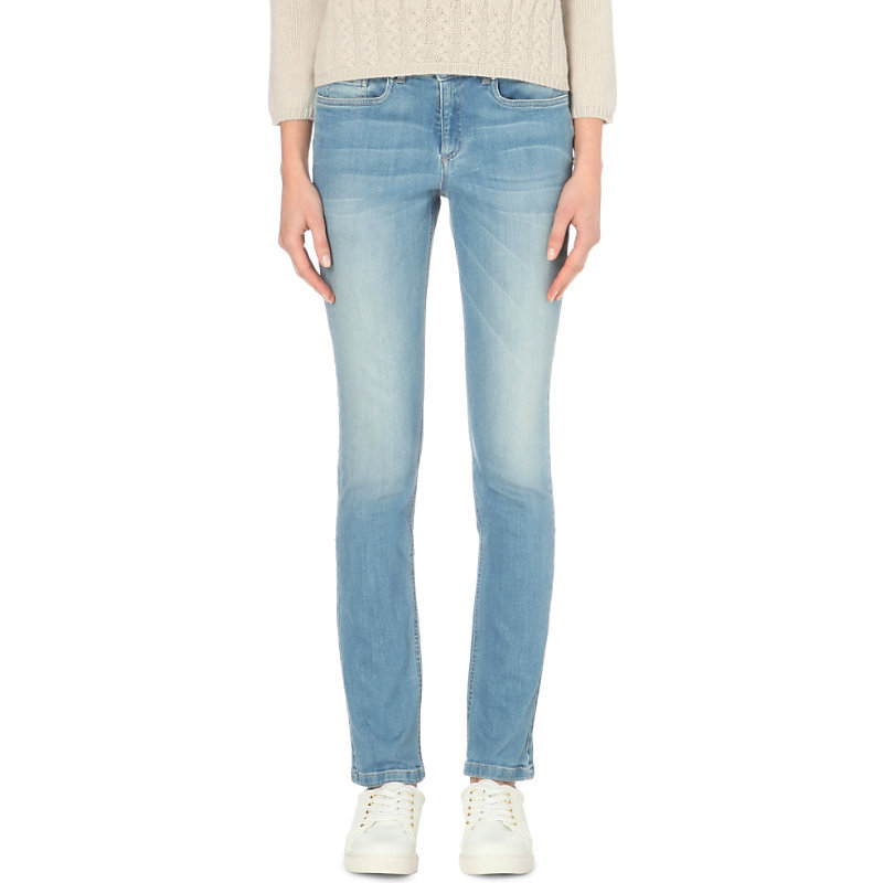 Skinny Mid Rise Jeans, Women's, Pale Denim - style: skinny leg; pattern: plain; waist: low rise; pocket detail: traditional 5 pocket; predominant colour: denim; occasions: casual; length: ankle length; fibres: cotton - stretch; texture group: denim; pattern type: fabric; season: a/w 2015; wardrobe: basic