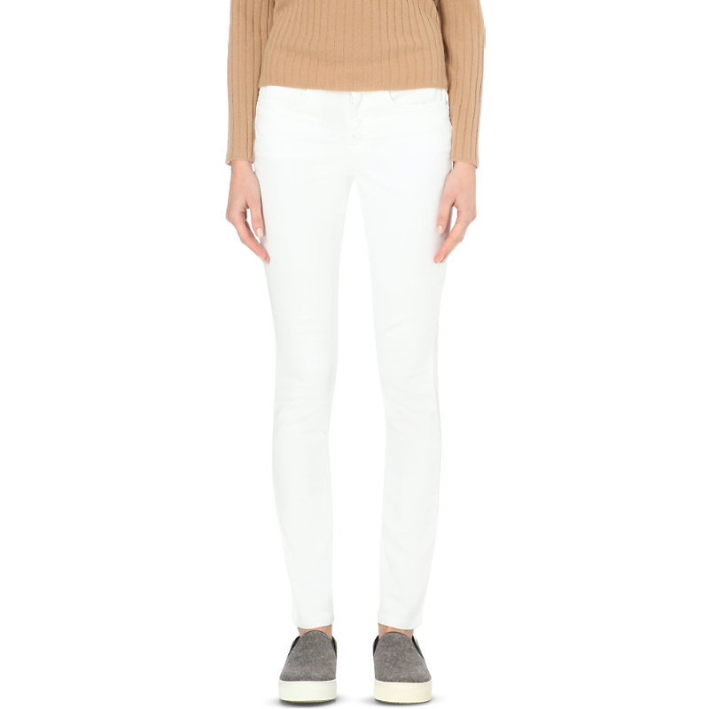 Skinny Mid Rise Jeans, Women's, White - style: skinny leg; length: standard; pattern: plain; waist: mid/regular rise; predominant colour: white; occasions: casual, creative work; texture group: denim; pattern type: fabric; season: a/w 2015; wardrobe: highlight