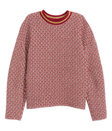 Jacquard Knit Jumper - style: standard; predominant colour: true red; occasions: casual, creative work; length: standard; fibres: polyester/polyamide - mix; fit: standard fit; neckline: crew; sleeve length: long sleeve; sleeve style: standard; texture group: knits/crochet; pattern type: fabric; pattern: patterned/print; season: a/w 2015; wardrobe: highlight