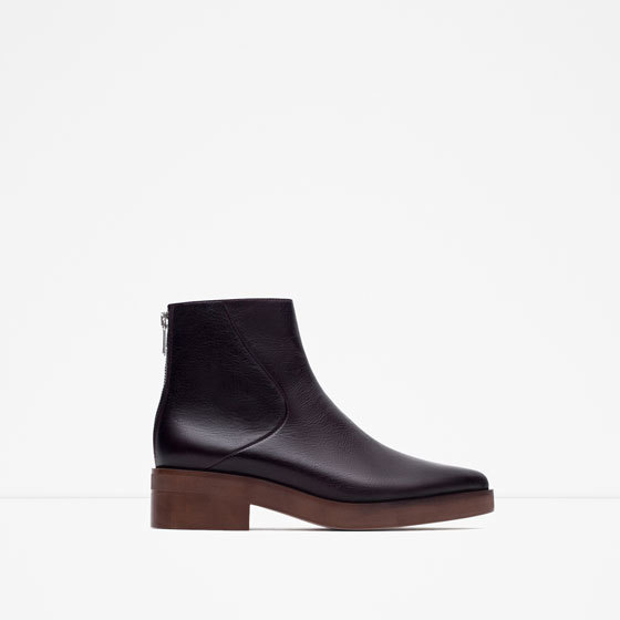 Pointed Leather Ankle Boots - predominant colour: black; occasions: casual, creative work; material: leather; heel height: mid; heel: block; toe: pointed toe; boot length: ankle boot; style: standard; finish: plain; pattern: plain; season: a/w 2015