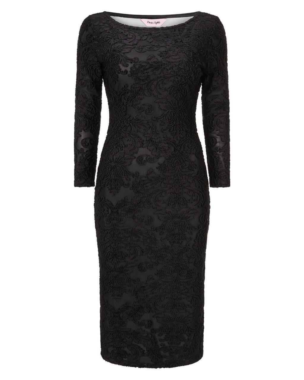 Elvira Burnout Dress - neckline: round neck; fit: tight; style: bodycon; predominant colour: black; occasions: evening; length: just above the knee; fibres: polyester/polyamide - stretch; sleeve length: 3/4 length; sleeve style: standard; texture group: lace; pattern type: fabric; pattern size: standard; pattern: patterned/print; season: a/w 2015; trends: romantic goth; wardrobe: event