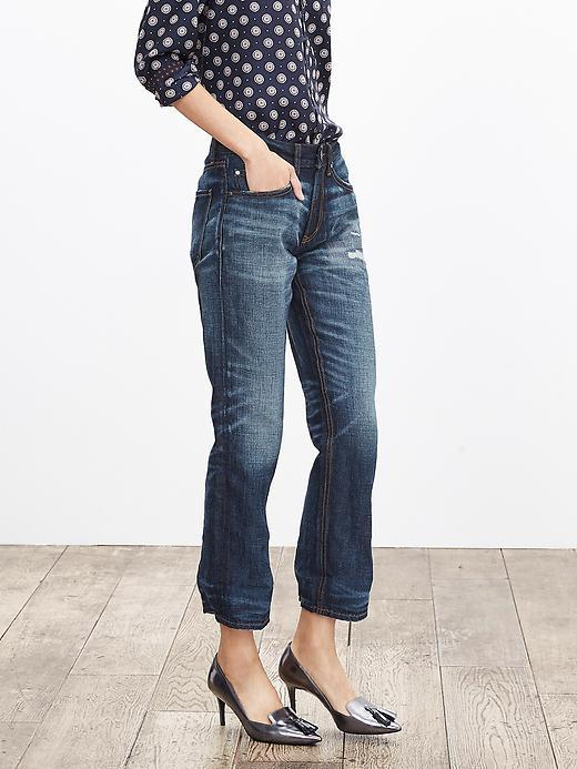 Heritage Distressed Boyfriend Jean Medium Wash - style: boyfriend; pattern: plain; waist: high rise; predominant colour: denim; occasions: casual, creative work; length: ankle length; jeans detail: shading down centre of thigh; texture group: denim; pattern type: fabric; season: a/w 2015; wardrobe: basic