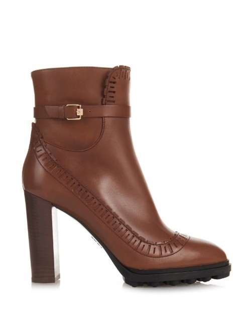 Perforated Leather Ankle Boots - predominant colour: tan; occasions: casual, creative work; material: leather; heel height: high; heel: block; toe: round toe; boot length: shoe boot; style: biker boot; finish: plain; pattern: plain; season: a/w 2015; wardrobe: highlight