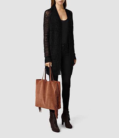 Club New Lea Fringe Tote - predominant colour: tan; occasions: casual, creative work; type of pattern: standard; style: tote; length: handle; size: standard; material: suede; embellishment: fringing; pattern: plain; finish: plain; season: a/w 2015; wardrobe: highlight