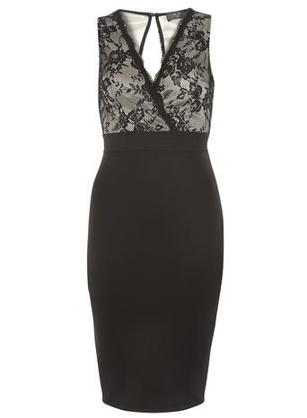 Womens **Ax Paris Black Lace Wrap Over Dress Black - neckline: v-neck; fit: tight; pattern: plain; sleeve style: sleeveless; style: bodycon; predominant colour: black; occasions: evening; length: just above the knee; fibres: polyester/polyamide - stretch; sleeve length: sleeveless; texture group: jersey - clingy; pattern type: fabric; embellishment: lace; season: a/w 2015; wardrobe: event