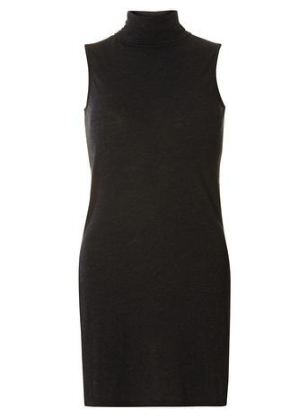 Womens Black Split Side Roll Neck Top Black - pattern: plain; sleeve style: sleeveless; length: below the bottom; neckline: roll neck; predominant colour: black; occasions: casual, creative work; style: top; fit: body skimming; sleeve length: sleeveless; pattern type: fabric; pattern size: standard; texture group: jersey - stretchy/drapey; fibres: viscose/rayon - mix; season: a/w 2015