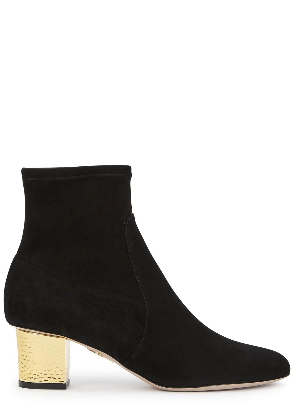 Winnie Black Stretch Suede Ankle Boots - secondary colour: gold; predominant colour: black; occasions: casual, creative work; material: suede; heel height: mid; heel: block; toe: round toe; boot length: ankle boot; style: standard; finish: plain; pattern: plain; season: a/w 2015; wardrobe: basic