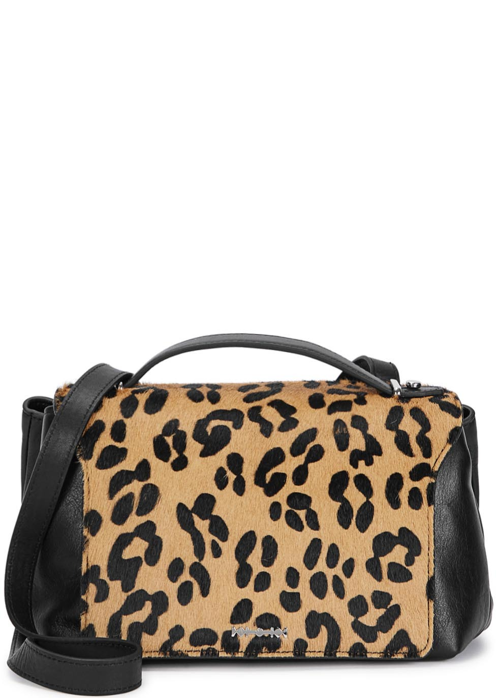 Mini Riot Leopard Print Shoulder Bag - predominant colour: camel; secondary colour: black; occasions: casual, creative work; type of pattern: small; style: grab bag; length: handle; size: small; material: animal skin; pattern: animal print; finish: plain; season: a/w 2015
