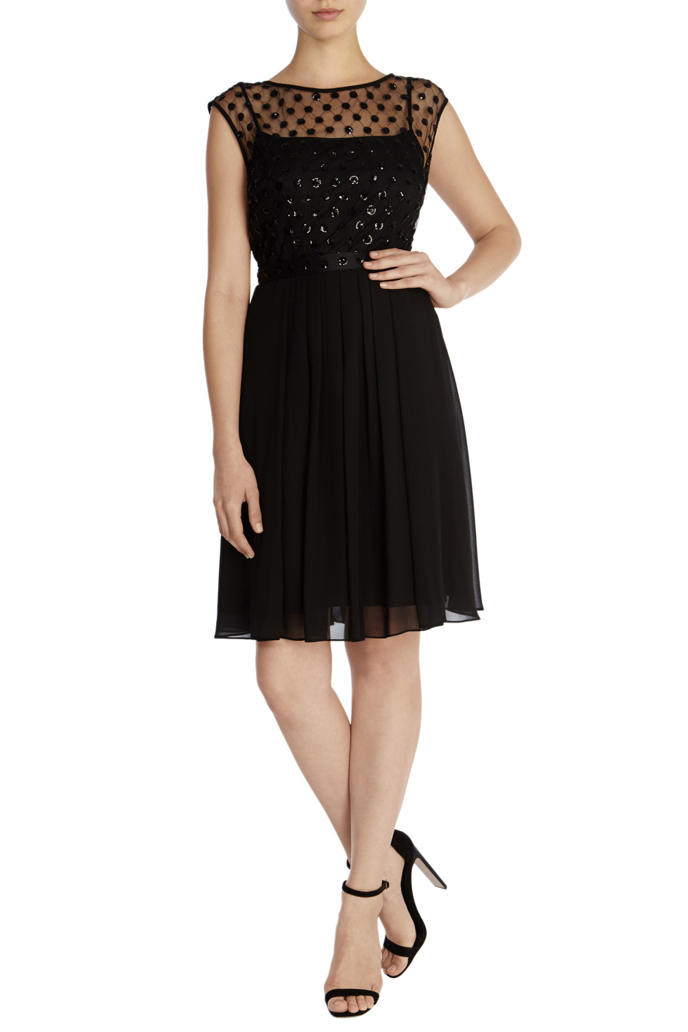 Lori Lee Cluster Short Dress - neckline: slash/boat neckline; sleeve style: capped; pattern: plain; bust detail: sheer at bust; predominant colour: black; occasions: evening; length: just above the knee; fit: fitted at waist & bust; style: fit & flare; fibres: polyester/polyamide - 100%; sleeve length: short sleeve; texture group: crepes; pattern type: fabric; embellishment: beading; season: a/w 2015; wardrobe: event