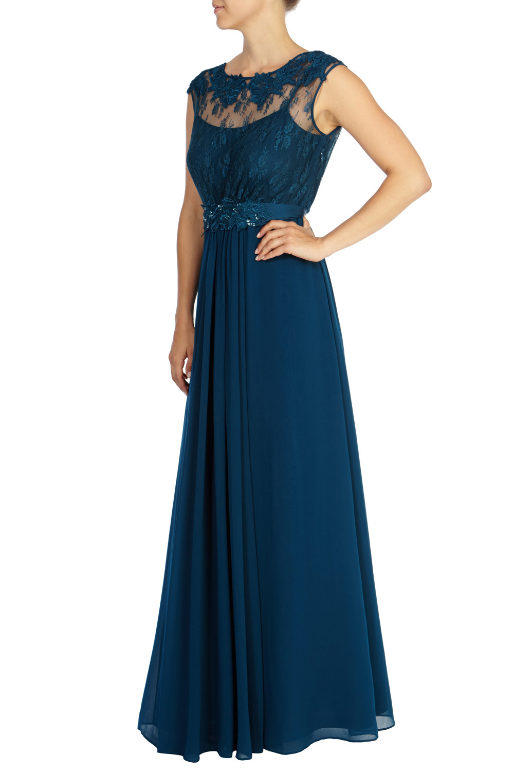 Lori May Maxi Dress - fit: fitted at waist; pattern: plain; sleeve style: sleeveless; style: maxi dress; bust detail: sheer at bust; predominant colour: teal; occasions: evening; length: floor length; fibres: polyester/polyamide - 100%; neckline: crew; hip detail: soft pleats at hip/draping at hip/flared at hip; sleeve length: sleeveless; texture group: sheer fabrics/chiffon/organza etc.; pattern type: fabric; embellishment: lace; season: a/w 2015
