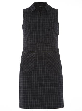 Womens Navy Check Collar Shift Dress Blue - style: shift; length: mid thigh; fit: tailored/fitted; pattern: checked/gingham; predominant colour: navy; secondary colour: charcoal; occasions: casual, creative work; fibres: polyester/polyamide - stretch; neckline: no opening/shirt collar/peter pan; sleeve length: sleeveless; sleeve style: standard; pattern type: fabric; pattern size: light/subtle; texture group: other - light to midweight; season: a/w 2015