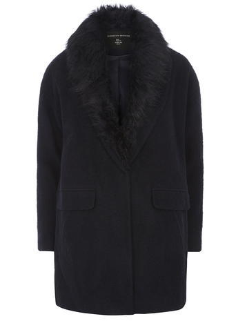Womens Navy Faux Fur Wool Boyfriend Coat Navy - pattern: plain; style: single breasted; length: mid thigh; predominant colour: navy; occasions: casual, work, creative work; fit: straight cut (boxy); fibres: polyester/polyamide - mix; sleeve length: long sleeve; sleeve style: standard; texture group: fur; collar: fur; collar break: medium; pattern type: fabric; embellishment: fur; season: a/w 2015; wardrobe: highlight