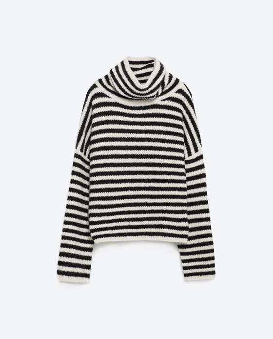 Striped Sweater - sleeve style: dolman/batwing; pattern: horizontal stripes; neckline: roll neck; style: standard; secondary colour: white; predominant colour: black; occasions: casual, creative work; length: standard; fibres: acrylic - mix; fit: standard fit; sleeve length: long sleeve; trends: monochrome; texture group: knits/crochet; pattern type: knitted - other; pattern size: standard; season: a/w 2015