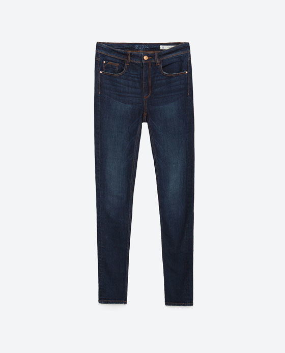 Super Skinny Jeans - style: skinny leg; length: standard; pattern: plain; pocket detail: traditional 5 pocket; waist: mid/regular rise; predominant colour: navy; occasions: casual, creative work; fibres: cotton - stretch; jeans detail: whiskering; texture group: denim; pattern type: fabric; season: a/w 2015