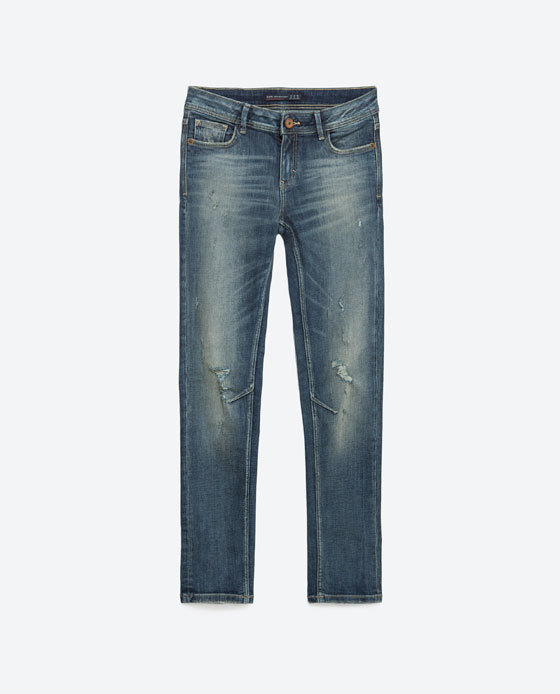 Skinny Jeans - style: skinny leg; length: standard; pattern: plain; waist: low rise; pocket detail: traditional 5 pocket; predominant colour: denim; occasions: casual, creative work; fibres: cotton - stretch; jeans detail: whiskering, shading down centre of thigh; texture group: denim; pattern type: fabric; season: a/w 2015; wardrobe: basic