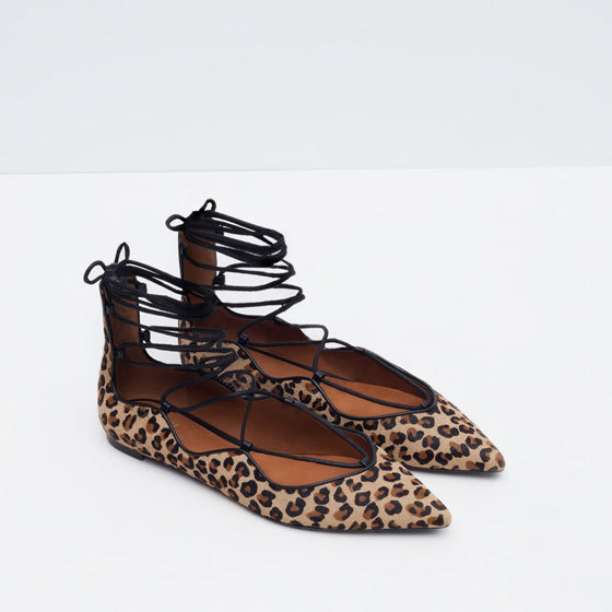 Printed Leather Lace Up Ballerinas - predominant colour: stone; secondary colour: black; occasions: casual, creative work; material: faux leather; heel height: flat; ankle detail: ankle strap; toe: pointed toe; style: ballerinas / pumps; finish: plain; pattern: animal print; season: a/w 2015; wardrobe: highlight