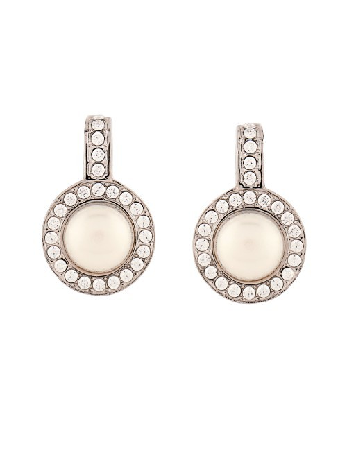 Faux Pearl And Crystal Earrings - predominant colour: ivory/cream; occasions: evening, occasion; style: drop; length: mid; size: standard; material: chain/metal; fastening: pierced; finish: plain; embellishment: crystals/glass; season: a/w 2015; wardrobe: event
