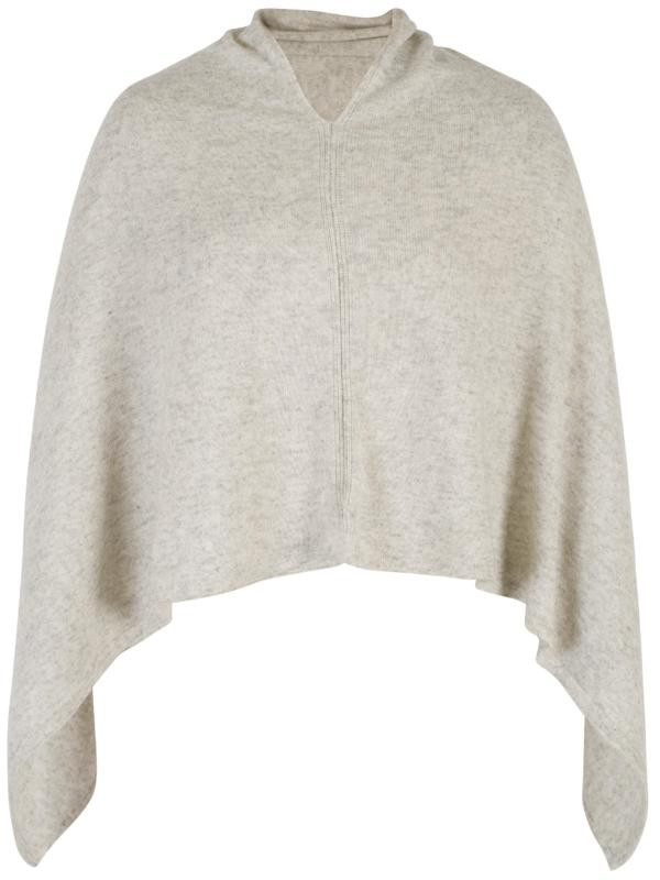 Pale Grey Cashmere Poncho - neckline: v-neck; pattern: plain; length: cropped; style: poncho; predominant colour: stone; occasions: casual; fit: loose; fibres: cashmere - 100%; sleeve length: long sleeve; texture group: knits/crochet; pattern type: knitted - fine stitch; sleeve style: cape/poncho sleeve; season: a/w 2015