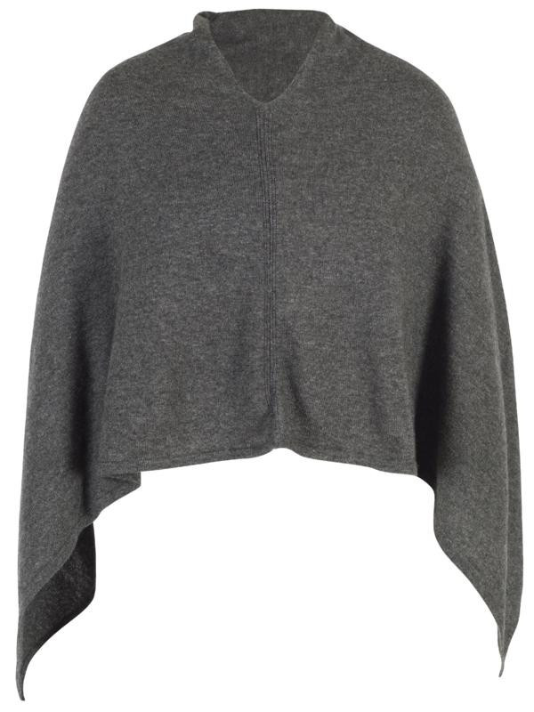 Dark Grey Cashmere Poncho - neckline: v-neck; pattern: plain; style: poncho; predominant colour: charcoal; occasions: casual; length: standard; fit: loose; fibres: cashmere - 100%; sleeve length: long sleeve; texture group: knits/crochet; pattern type: knitted - fine stitch; sleeve style: cape/poncho sleeve; season: a/w 2015; wardrobe: highlight