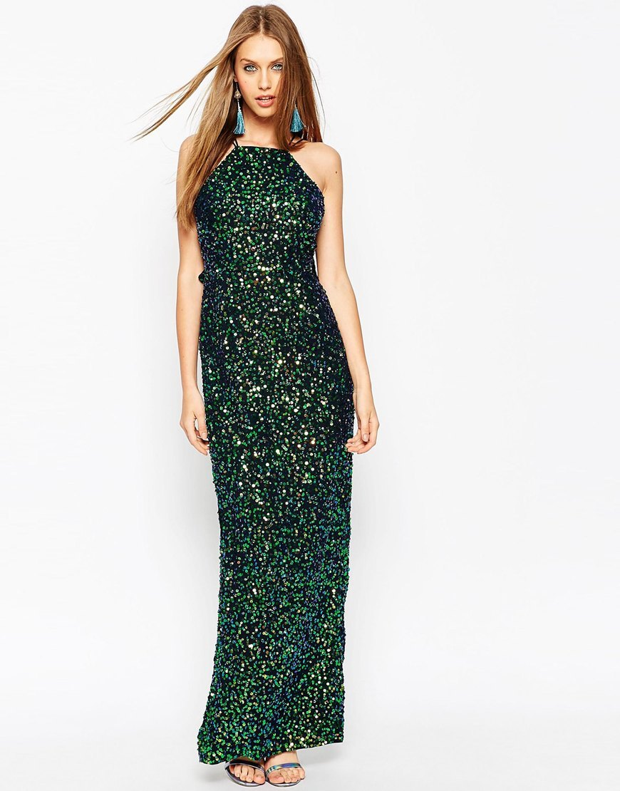 Embellished Drape Back Maxi Dress Navy - pattern: plain; sleeve style: sleeveless; style: maxi dress; predominant colour: dark green; occasions: evening, occasion; length: floor length; fit: body skimming; fibres: polyester/polyamide - stretch; neckline: crew; sleeve length: sleeveless; pattern type: fabric; texture group: jersey - stretchy/drapey; embellishment: sequins; season: a/w 2015; wardrobe: event