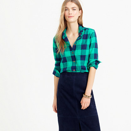 Tall Shrunken Boy Shirt In Emerald Buffalo Check - neckline: shirt collar/peter pan/zip with opening; pattern: checked/gingham; style: shirt; secondary colour: navy; predominant colour: emerald green; occasions: casual; length: standard; fibres: cotton - 100%; fit: straight cut; sleeve length: long sleeve; sleeve style: standard; pattern type: fabric; pattern size: standard; texture group: woven light midweight; season: a/w 2015