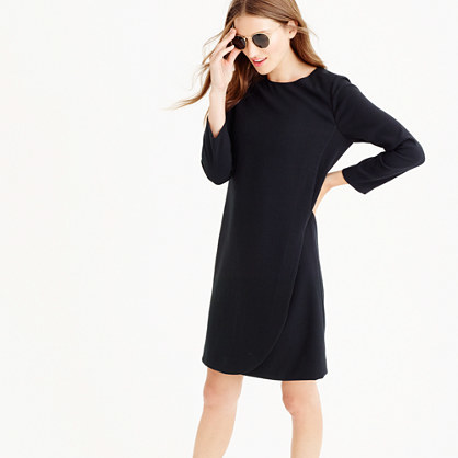 Overlapped Long Sleeve Shift Dress - style: tunic; length: mid thigh; neckline: round neck; pattern: plain; predominant colour: black; occasions: casual, creative work; fit: straight cut; fibres: polyester/polyamide - stretch; sleeve length: 3/4 length; sleeve style: standard; pattern type: fabric; texture group: other - light to midweight; season: a/w 2015