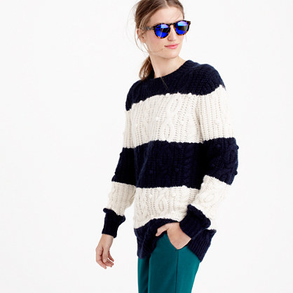 Italian Cashmere Cable Sweater In Stripe - length: below the bottom; style: standard; pattern: cable knit; secondary colour: ivory/cream; predominant colour: navy; occasions: casual, creative work; fit: loose; neckline: crew; fibres: cashmere - 100%; sleeve length: long sleeve; sleeve style: standard; texture group: knits/crochet; pattern type: fabric; season: a/w 2015